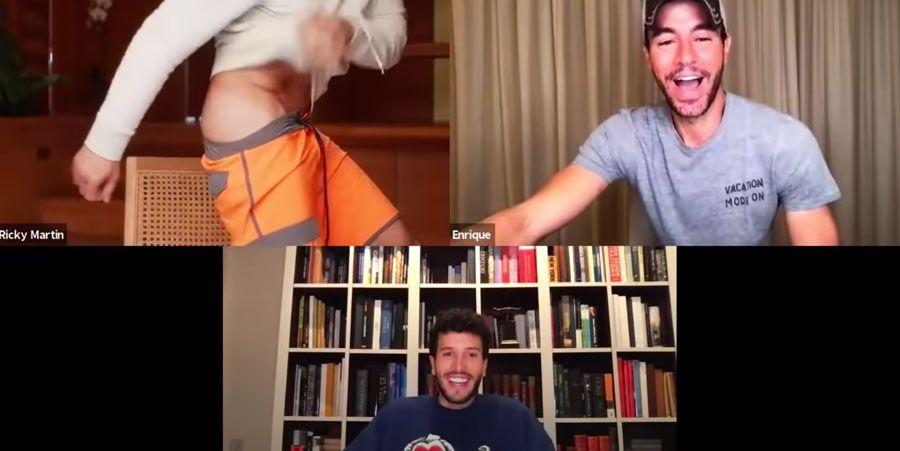 en videollamada con enrique iglesias: ricky martin se pelo las nalgas