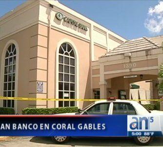 Asaltan banco en Coral Gables