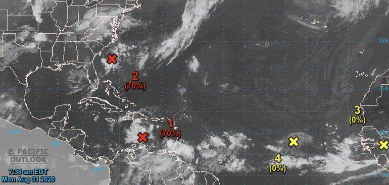 Dos ondas en el océano Atlántico mantienen poca probabilidad de pronto desarrollo