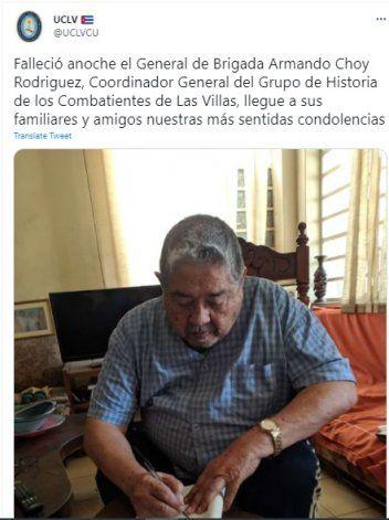 CUBA: Muere el general Armando Choy Rodríguez