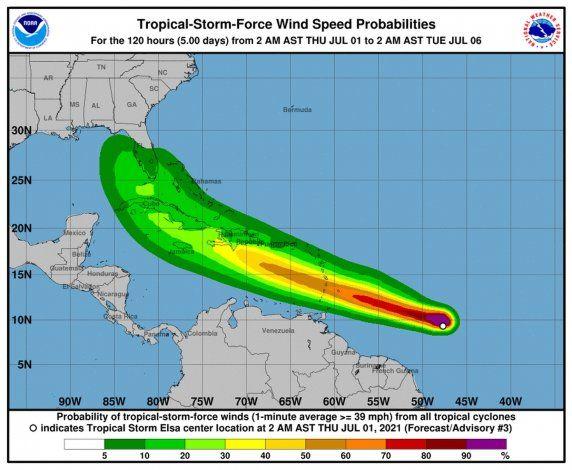 Tormenta tropical Elsa: su paso al sur de Puerto Rico dejaría hasta tres pulgadas de lluvia y ráfagas de viento