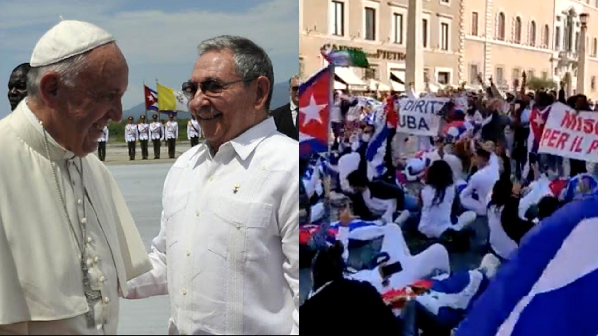 el papa francisco le da la espalda a los cubanos que clamaron libertad frente al vaticano